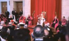 Photograph of Pope John XXIII meeting seminarians at the Angelicum in Rome