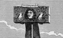 Engraving of a pilloried Titus Oates