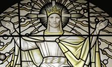 Stained glass window depicting Christ the King