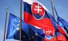 EU flag and Slovakia flag
