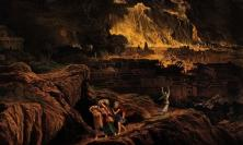 From 'Lot and his family flee Sodom as it burns' by John Martin