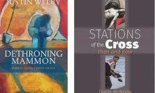 Covers of Dethroning Mammon and Stations of the Cross - then and now