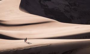 Two people in the desert