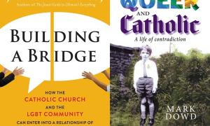 Covers of 'Builiding a Bridge' and 'Queer and Catholic'
