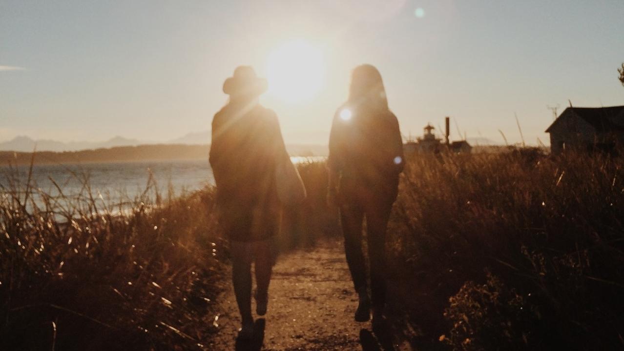 Walking towards sunset